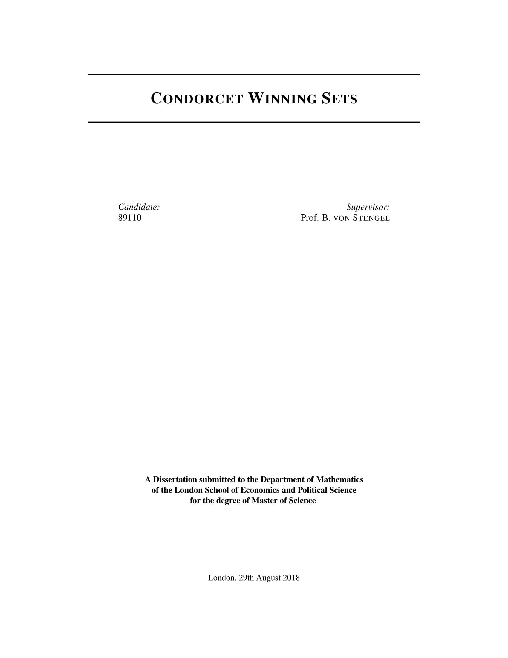 Condorcet Winning Sets