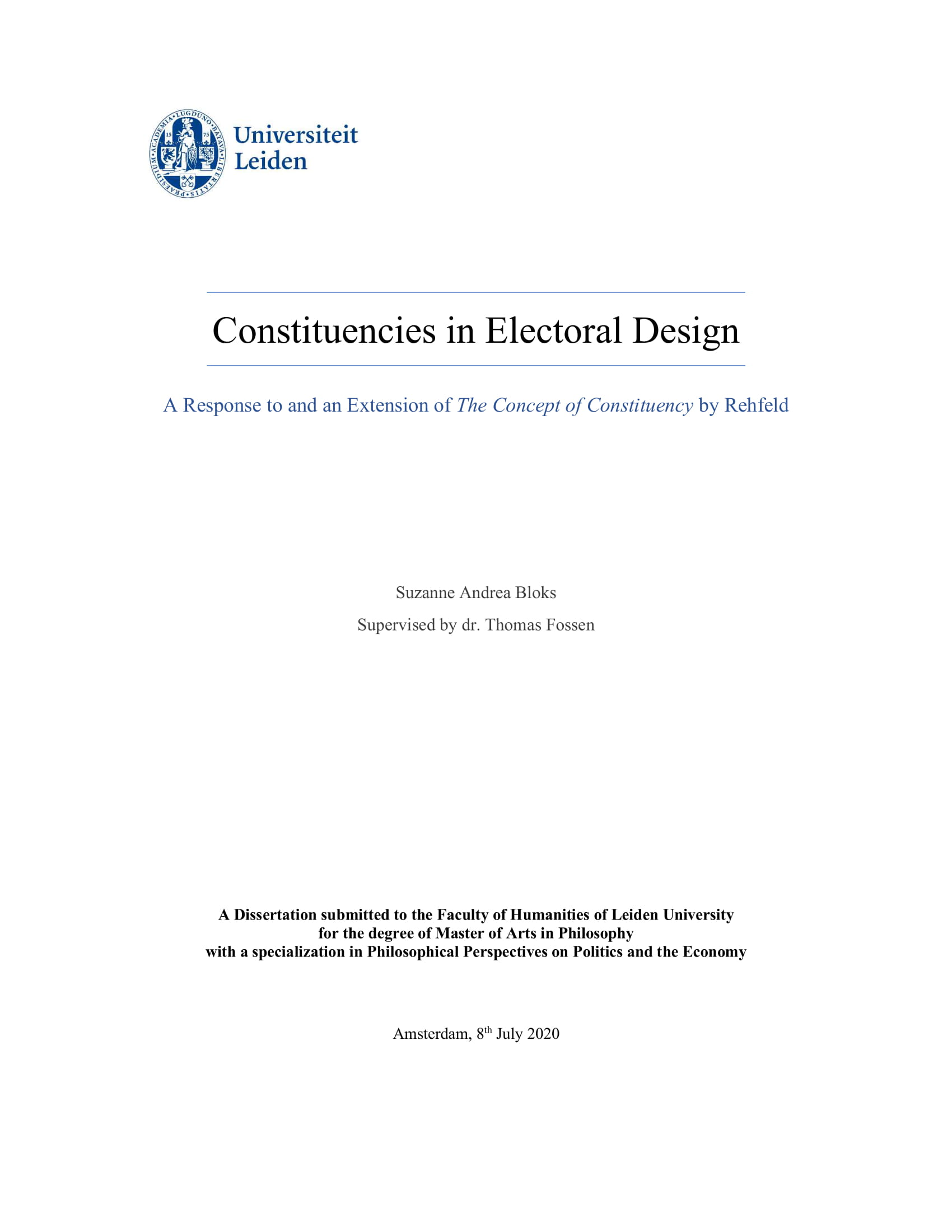 Constituencies in Electoral Design. A Response to and an Extension of The Concept of Constituency by Rehfeld.