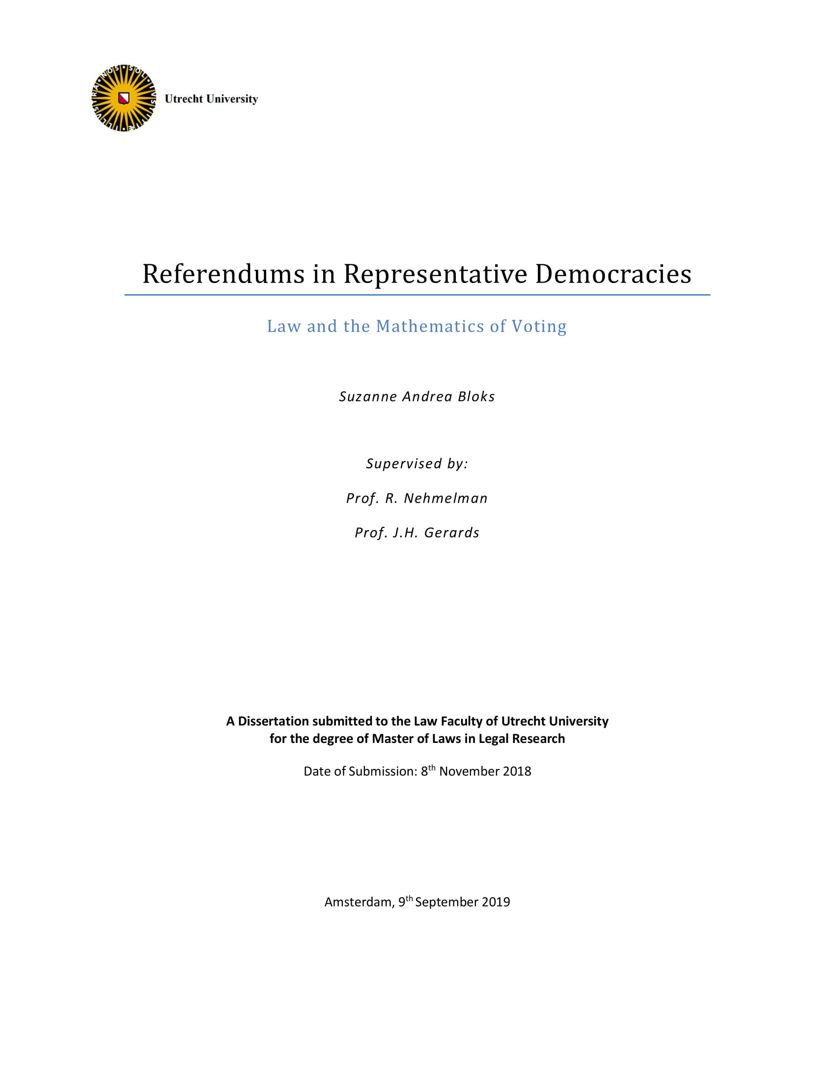 Referendums in Representative Democracies. Law and the Mathematics of Voting.