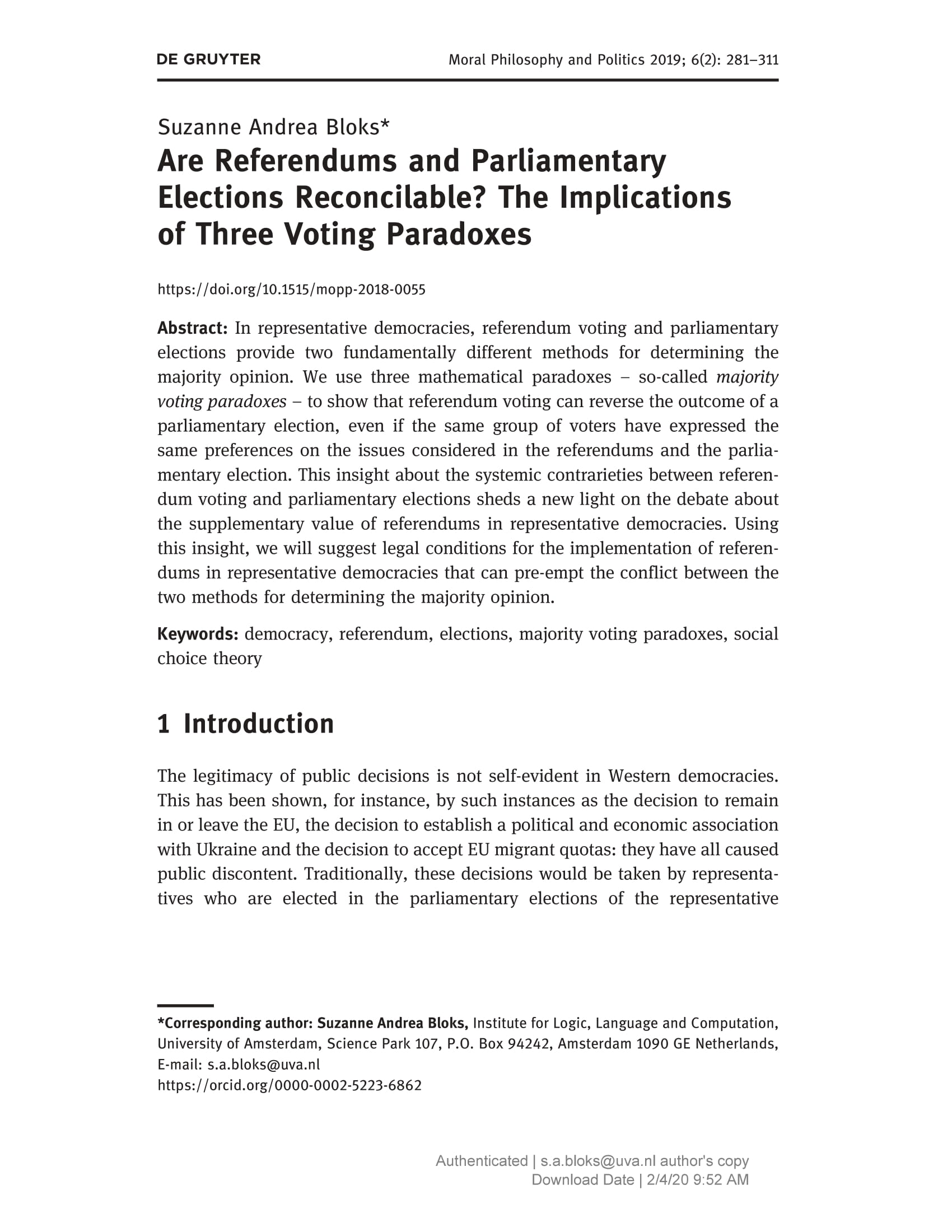 Are Referendums and Parliamentary Elections Reconcilable? The Implications of Three Voting Paradoxes.