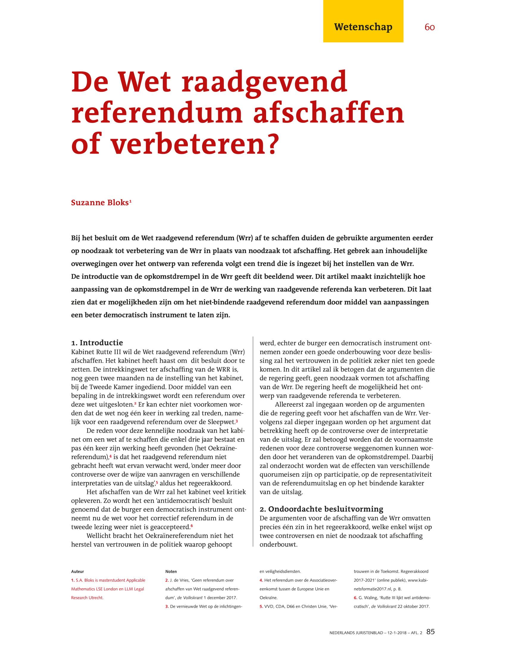 De Wet Raadgevend Referendum afschaffen of verbeteren?